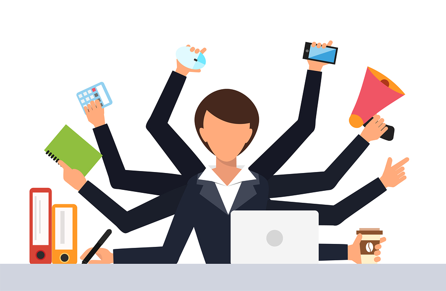 Office job stress work vector illustration. Stress on work. Business woman day. Office life business girl. Business situation. People in action. Computer, table, many hands. Office people. Stress job